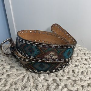 Aztec, Tribal Hand Finished Leather Belt